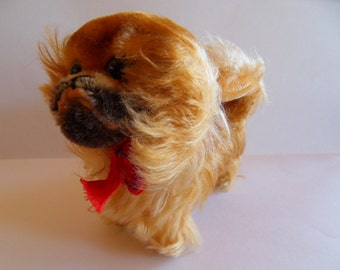 Steiff Peky, Pekinese, w. button and flag,chest tag,mohair, made in Germany 183