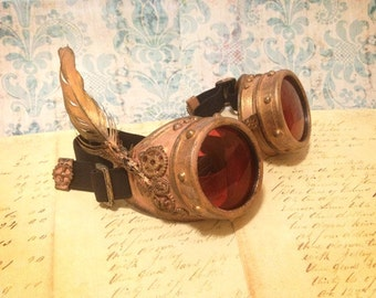 Burning Man Steampunk Goggles, Harry Potter Goggles, FAWKES Phoenix, burner goggles, ROSE GOLD Goggles, Harry Potter gift