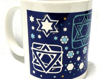 Jewish Mug - Tossed Stars (Navy)
