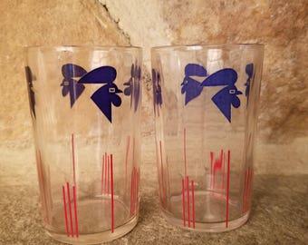 1930s SWANKY SWIG Chantecleer Juice GLASSES, swanky swig juice glasses, swanky swigs, 30s swanky swig glasses, 30s swanky swigs, juice glass