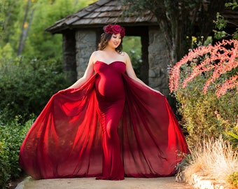 Maternity Dress-Maternity Gown for Photo Shoot-Maternity Dress for Baby Shower-Long Maternity Dress-Wine Maternity Gown-Maxi Gown-FRANCESCA