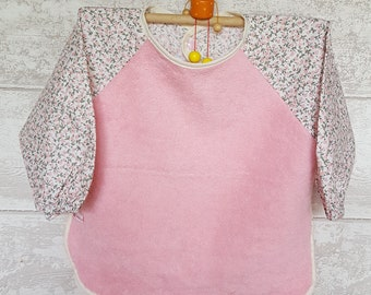 Personalized pink floral sleeve bib