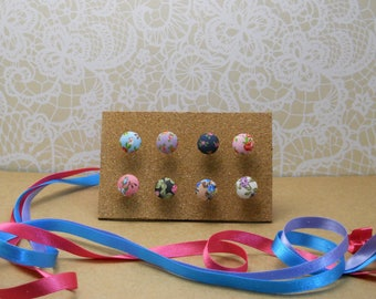 Set of eight floral fabric covered push pins