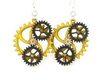 Kinetic Triple Moving Gear Earrings #5005C