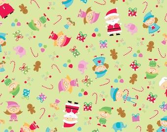 Santa's Workshop - Green Santa Main by Doodlebug Design for Riley Blake Fabrics