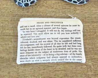 Jane Austen Gift Coin Purse - Quote Change Zipper Pouch - Pride and Prejudice Mr Darcy