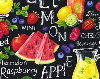 "NEW Fabri-Quilt Farmer John's Garden Party Lemonade - Blueberry, watermelon, Berries 100% cotton fabric by the yard 36""x43"" (FQ113)"