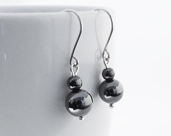 Hematite Silver Earrings, Beaded Earrings, Grey Hematite Earrings, 925 Sterling Silver Dangle Earrings, Handmade Jewelry, Gift for Her