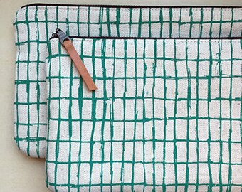 Grid Screen Printed Pouch -- Teal
