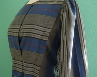 sale   70's striped blue shirt dress // secretary dress