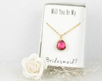Fuschia Gold Teardrop Necklace, Bridesmaid Fuschia Necklace, Pink Wedding Accessories, Bridesmaid Necklace, Bridesmaid Jewelry