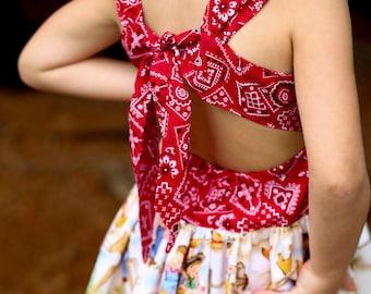Lil Cowgirl Peekaboo Tie Back  Dress ( 2T,  3T, 4T, 5, 6, 7, 8, 9/10, 11/12, 13/14, 15/16)