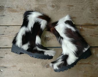 Deadstock vintage boots 1970 apres ski fur boots new old stock cow skin snow souki france