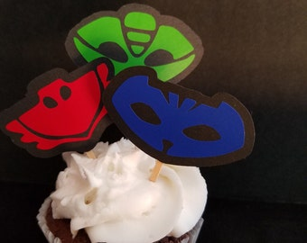 PJ Masks Cupcake Toppers - Food Picks Vinyl Embellished Owlette Gecko Catboy Birthday Party, Party items P J Mask Partyware Birthday