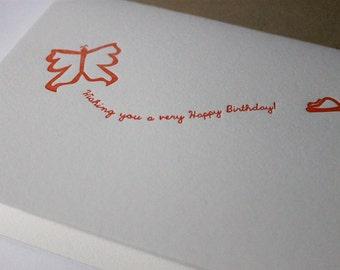 Happy Birthday Letterpress card - Butterfly