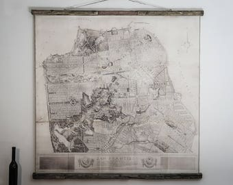 Plan of the city, San Francisco plan, Golden Gate, 51'' x 51'', 132 x 132 cm, California, Old map, Canvas, Ancient wood, Iron plaque