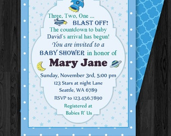 Space Baby Shower Invitation, Space Rocket Shower,  Birthday Party Printable Invitation