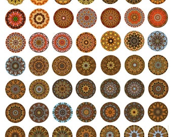 Mandala 1 Inch Round Circles Instant Download for Glass Resin Pendants Collage Sheet Digital JPEG Images (KKX-102)