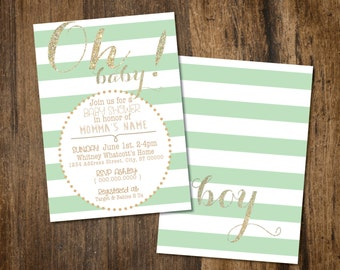 Oh Baby! Mint and Gold Baby Shower Invitation