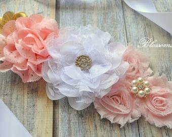 Beautiful Chiffon Flower Maternity Sash - Pregnancy Photo Prop - Blush Pink Gold Pregnancy Sash - It's a Girl Maternity Belt - Belly Sash