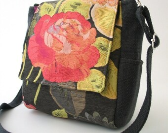 women backpack purse converts to messenger, vegan backpack, tote bag ,floral bag ,grey purse, fabric handbag, cross body bag, fit IPAD