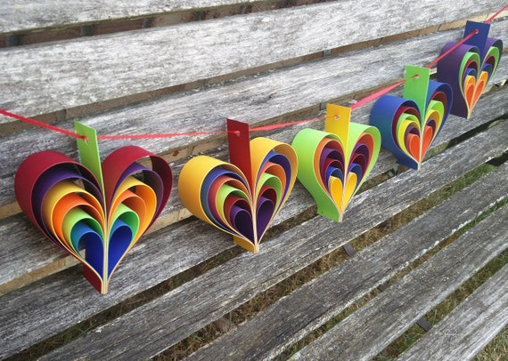5 Rainbow Hearts. Wedding, Shower, Pary Decoration. Custom Orders Welcome. ANY COLOR Available. Paper Decorations.