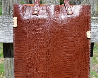 Brown and orange leather tote bag - Hand stitched
