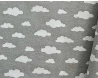 Cloud white and grey jersey fabric