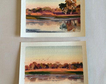 Aussie Outback Billabong by artist Bev Gribble (set of 2)
