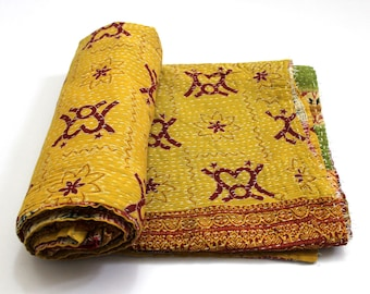 Indian Handmade Twin Size Reversible Floral Cotton Quilt Throw Embroidered Bohemian BedSpread Gypsy Blanket Ethnic Bedding Coverlet J795
