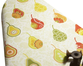 PADDED Ironing Board Cover made with Riley Blake Decedance pears on white orange yellow green