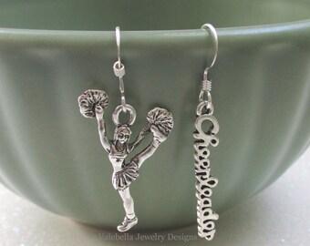 Earrings Cheerleader sterling silver french wire earrings Cheer team gift girls kids tween teen jewelry poms kickline 10 dollar gift