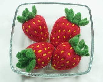 Strawberry - Needle Felted - Felted Fruit - Needlefelt Strawberries - Felt Strawberry - Kitchen Decor -  Home Decor - Soft Sculpture