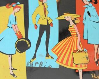 Vintage Barbie Doll Case Mattel 1961 Black Ponytail Patent Leather Antique Barbie Collectibles Vintage Barbie Case