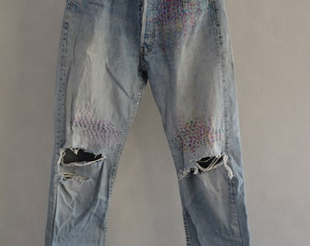 All SIZES High Waist Destroyed Boyfriend Jeans Distressed and Totally Patched Jeans Women's size 34 High Waisted Mom Jeans// all sizes,levis