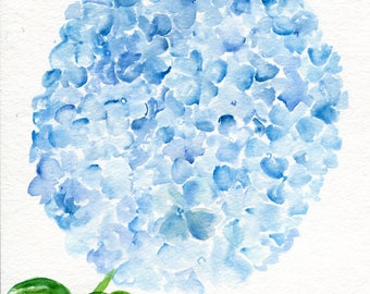 Hydrangea painting 8 x 10 Blue Hydrangeas Watercolor Painting, Flower Painting, Blue Flower Wall Art, Farmhouse decor