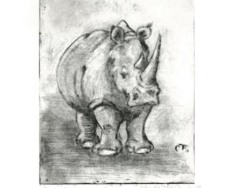 Rhino Etching. Drypoint print from an etching in copper.