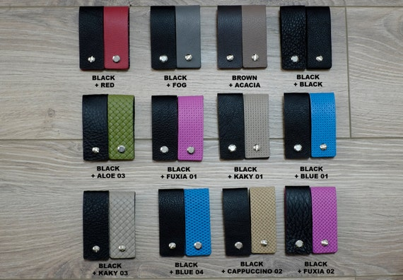 Leather Key Holder - Double Face & Reversible Colors - Slim Keychain Minimalist Key Case Holder Gift for Men's and Womens Soft Leather