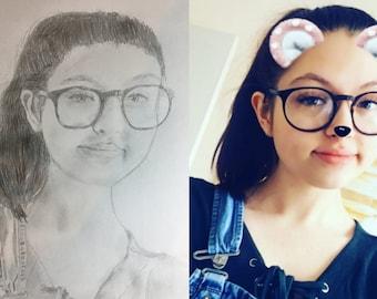 A3/4/5 Pencil Sketch of YOU