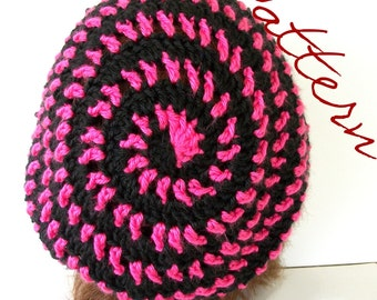 Crochet Pattern Slouch Hat Spiral Striped Tam PDF File