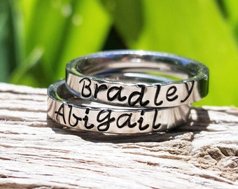 Stackable Name Rings, Stacking Rings, Personalized Stacking Ring, Silver Ring, Initial Ring, Thin Stackable Name Ring, Flat Ring