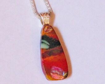 Volcano Glass - Red - Orange - Dichroic - Kiln Formed Glass Pendant