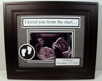 Sonogram Ultrasound Baby Photo Keepsake - I We Loved You From The Start - 8x10 Unframed Photo Mat