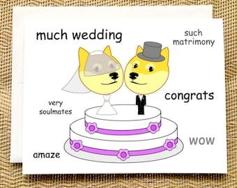 Funny Wedding Card -  Funny Doge Meme Wedding Card Funny Engagement Card Funny Wedding Card Congratulations Straight Wedding Card Funny
