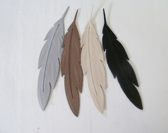 4 large fine feathers leather 12 cm, 4 assorted colors