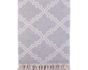 Pale Grey Arabesque Luxury Cotton Blanket Throw