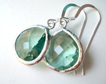 Erinite drops glass earrings elegant fancy dangle little small dainty drop earrings for women girls blue green aqua ocean sea tourmaline