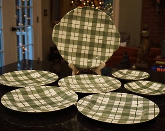 Royal China Underglaze Green and White Tartan Plates/Dishware/ Great Christmas Dishes/ Preppy Decor/ Farmhouse Chic/ Cabin Decor