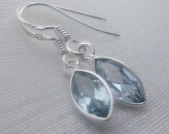SALE!  Sparkling Dangle Gemstone and Sterling Silver Earrings - Blue Topaz