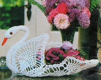 Crochet Swan Ornament, Crochet Pattern. PDF Instant Download.